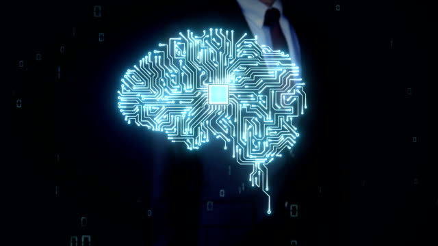 Businessman touching Brain CPU chip, grow artificial intelligence video
