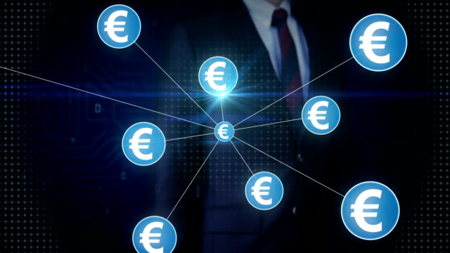 Businessman touching Euro currency symbol, Numerous dots gather to create a Pound currency sign, dots makes global world map, internet of things. financial technology video