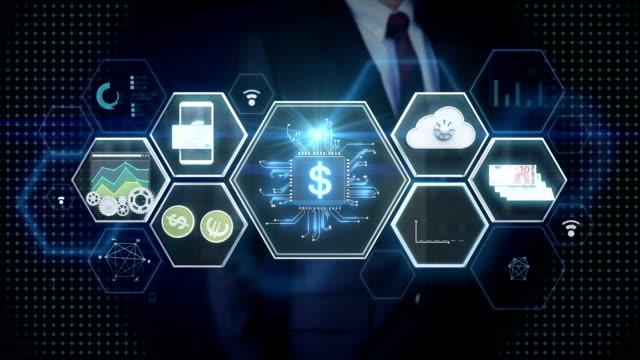 vídeos de stock, filmes e b-roll de empresário, tocar o ícone fin-tech, tecnologia financeira e ícone de informações diversas. - automatizado