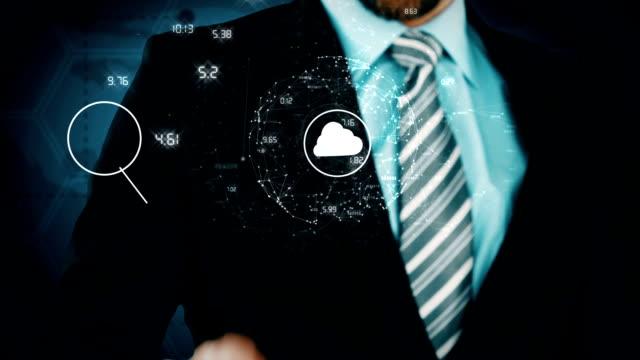 Businessman touching futuristic screen video