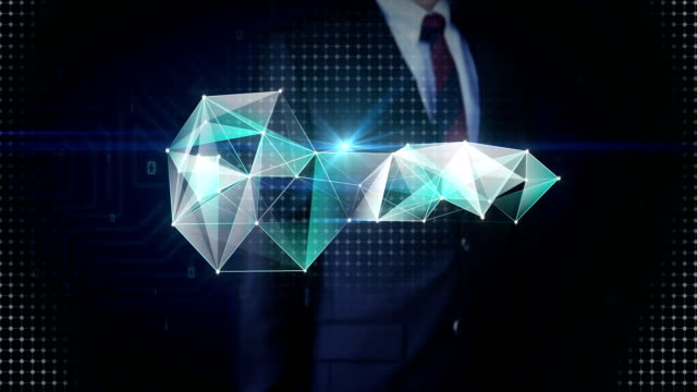 Businessman touching screen, Digital lines create key shape, digital security solution concept. intelligence technology. video