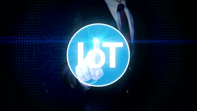 Businessman touching screen, IoT technology connect global world map. dots makes world map, internet of things.2. video
