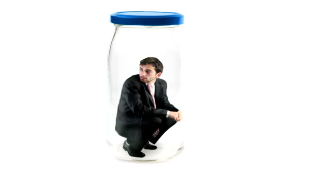 businessman trapped in jar video