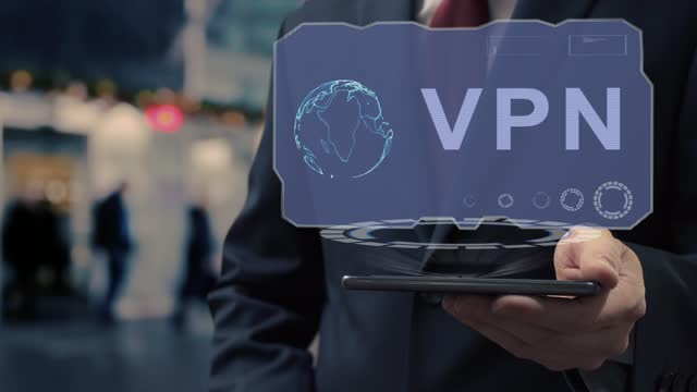 Businessman uses hologram VPN