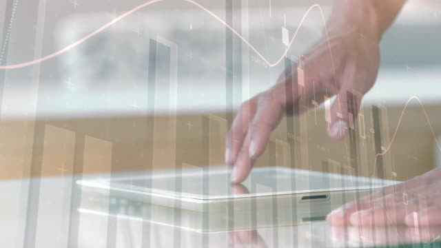 Businessman using digital tablet Digital composite of businessman using digital tablet while bar chart and graph are fluctuating on the foreground in office office illustrations videos stock videos & royalty-free footage