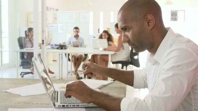 Businessman Using Laptop In Office Of Start Up Business video
