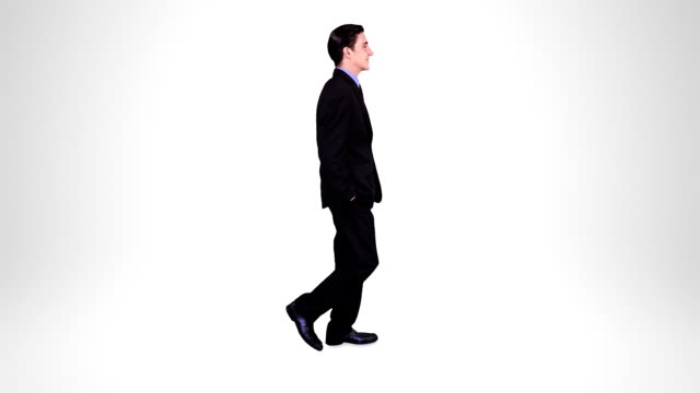 Businessman walking. Alpha matte. 2 in 1. Loopable. video
