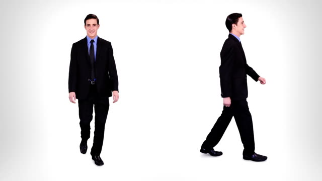 Businessman walking. Alpha matte. 2 in 1. video