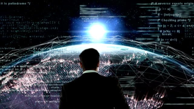 Businessman walking on digital generated earth video