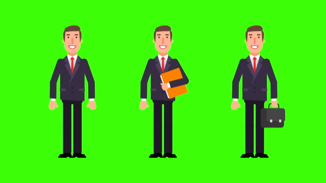 businessman welcomes holding folder and suitcase. green background. - характеры стоковые видео и кадры b-roll