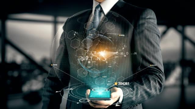 vídeos de stock e filmes b-roll de businessman with advertising hologram concept - financial advise