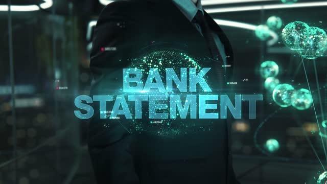 Businessman with Bank Statement hologram concept