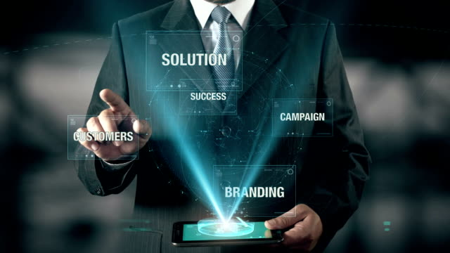 Businessman with Corporate Strategy concept choose Campaign from Success Customers Branding Solution using digital tablet video