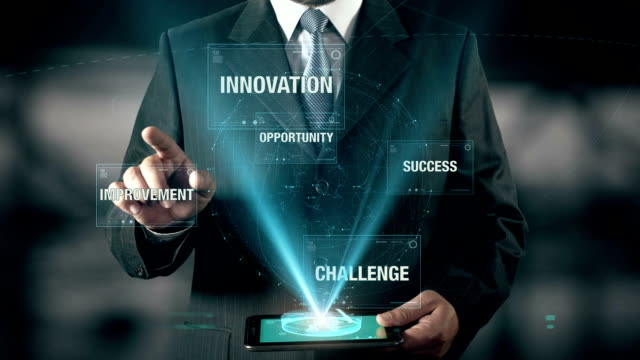 Businessman with Creative concept choose Success from Opportunity Challenge Improvement Innovation using digital tablet video