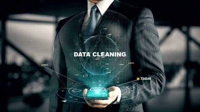 Businessman with Data Cleaning video