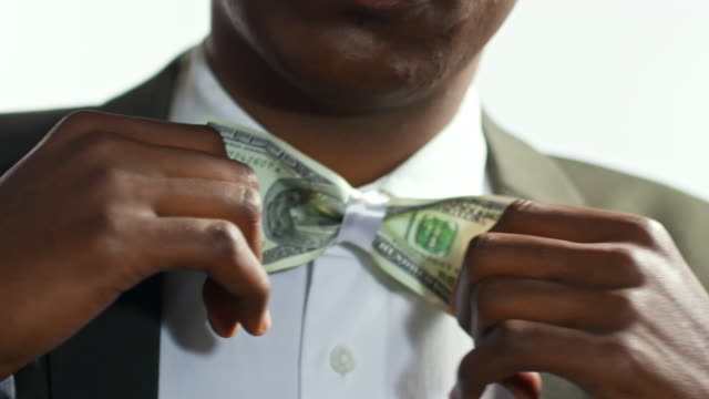 Businessman with Dollar Bill Bow tie video