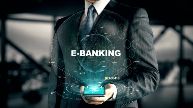 Businessman with E-Banking hologram concept video