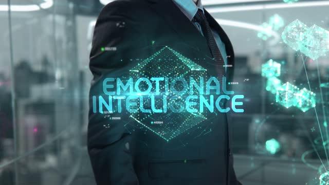 Businessman with Emotional Intelligence hologram concept
