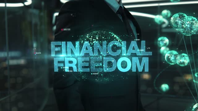 Businessman with Financial Freedom hologram concept Businessman with hologram in the future with futuristic tablet with success words business symbols stock videos & royalty-free footage