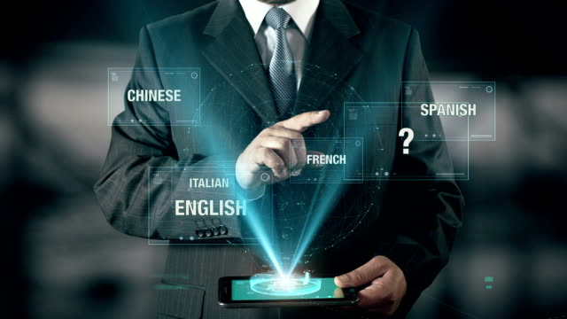 Businessman with Learn Mandarin concept choose from languages using digital tablet video
