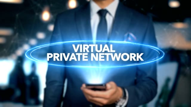 affärsman med mobiltelefon öppnar hologram hud gränssnitt och inslag word - virtuellt privat nätverk - vpn bildbanksvideor och videomaterial från bakom kulisserna