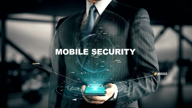 Businessman with Mobile Security hologram concept video