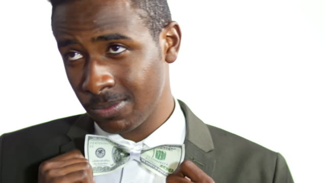 Businessman with Money Bow Tie video