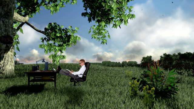 businessman with office on green meadow, countryside scenery - single pampas grass bildbanksvideor och videomaterial från bakom kulisserna
