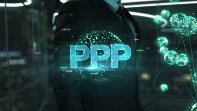 Businessman with PPP hologram concept Businessman with hologram in the future with futuristic tablet with success words military private stock videos & royalty-free footage
