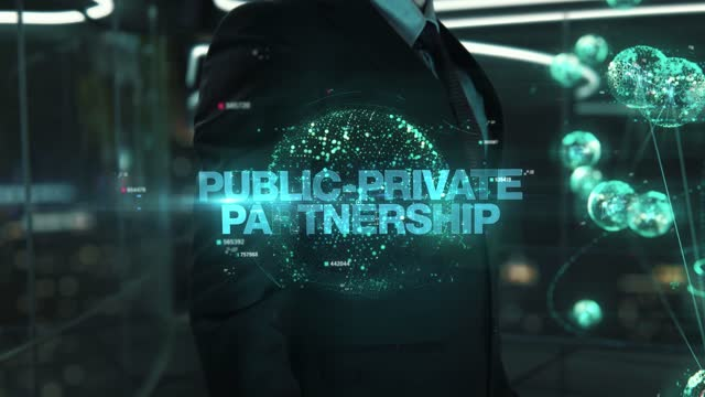 Businessman with Public-Private Partnership hologram concept Businessman with hologram in the future with futuristic tablet with success words military private stock videos & royalty-free footage