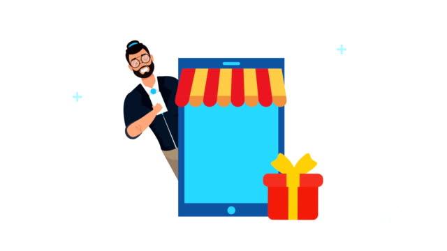 スマートフォンとギフトを持つビジネスマン - アイコン プレゼント点の映像素材/bロール