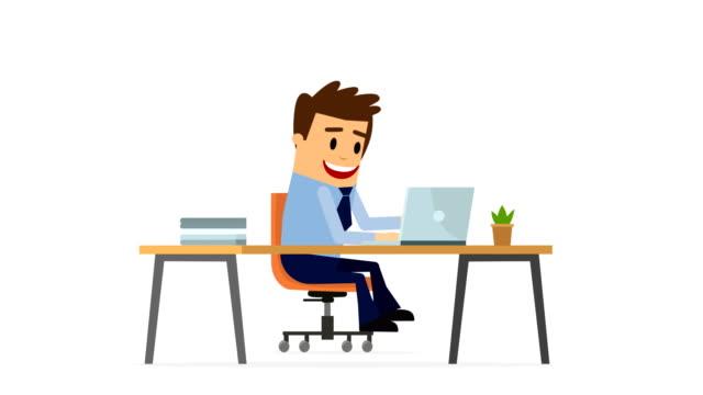 businessman work office animation matte - finish loopable, alpha channel - film animowany filmów i materiałów b-roll