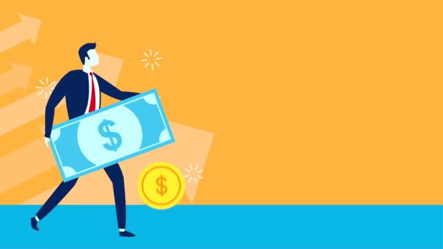 businessman worker lifting bill dollar video