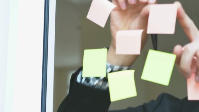 Businessman working in the office and having ideas using post-its. He is talking on the phone too