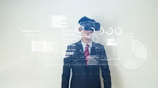 가상 현실 헤드셋으로 금융 데이터에 작동 하는 사업 비디오