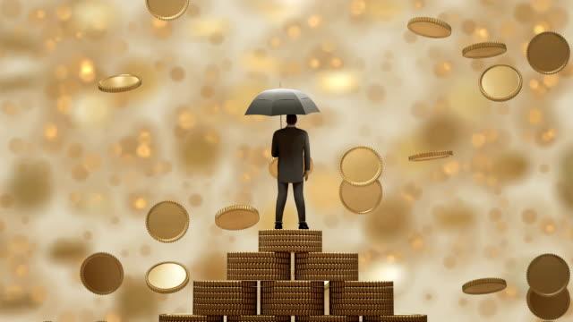stockvideo's en b-roll-footage met businessman3d staande met paraplu onder de regen geld. - sleeping illustration