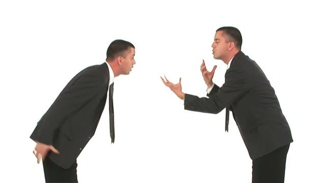 hd loop: businessmen arguing - kostym sida bildbanksvideor och videomaterial från bakom kulisserna