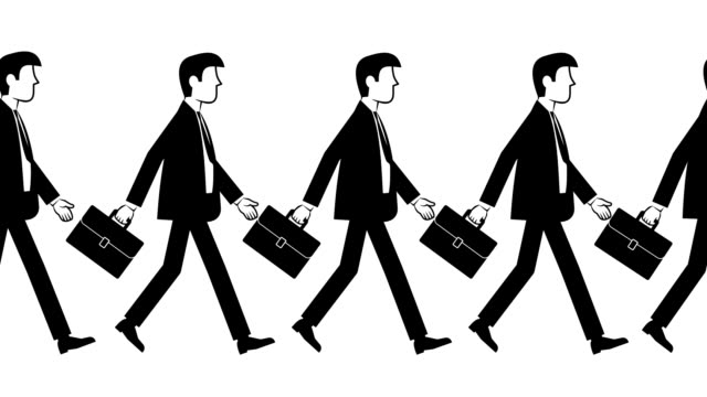 businessmen in suits with briefcases following each other video