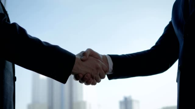 Businessmen Shaking Hands At The Window In The Office Closeup