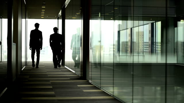 Businessmen walking away from camera video