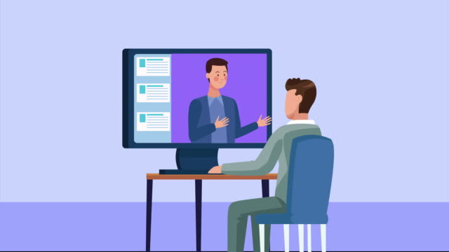 businessmen working in desktop connected online for covid19 - didattica a distanza video stock e b–roll