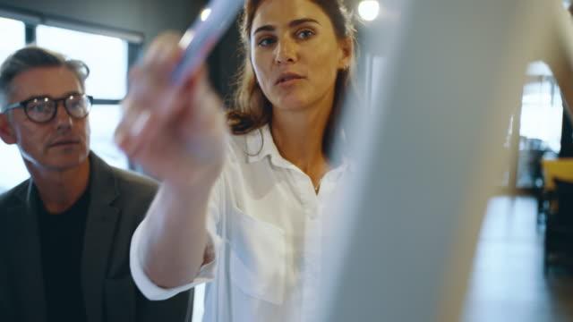 stockvideo's en b-roll-footage met zakenmensen die voor het whiteboard bespreken - marketing planning