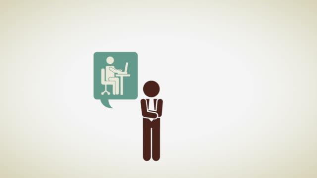 ビジネスマンのアイコンのデザインのビデオアニメーション - レポートのビデオ点の映像素材/bロール