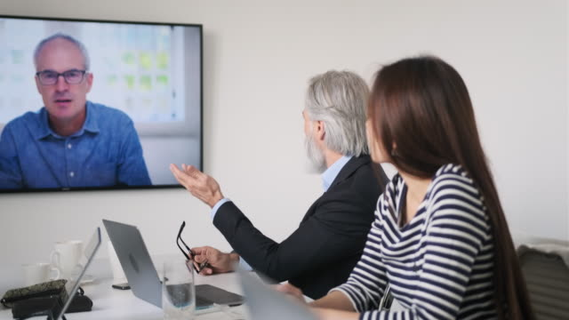 Businesspeople Participating in Video Conference video