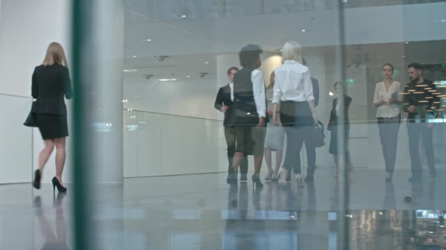 Businesspeople Walking through Hall of Business center Ground level shot of group of businesswomen and businessmen in official clothes walking through hall of modern business center lobby stock videos & royalty-free footage