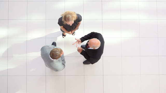 businessteam perspective from top video