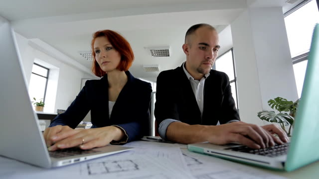 Businesswoman and Businessman in suits sitting in a large bright spacious office, each busy with his part of the work video