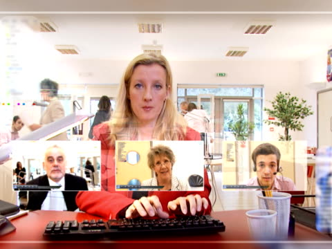 Businesswoman at Computer screen video