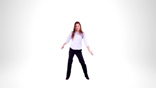 Businesswoman dancing. Alpha matte. Disco. video