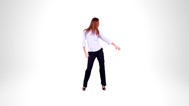 Businesswoman dancing. Alpha matte. video
